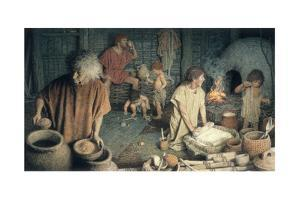 Three Generations in an Ancient Bulgarian One Room Home Ca. 5,000 B.C by Jean-Leon Huens