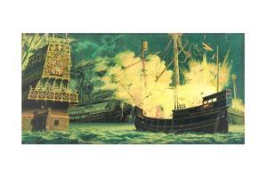 Unmanned British Ships with Flammables Explode Among Spanish Ships by Jean-Leon Huens