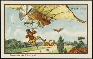 Alighting from an Airship by Parachute by Jean Marc Cote