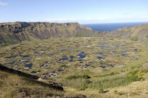 Lake in Crater, Orongo, Easter Island, Chile, South America by Jean-Pierre De Mann