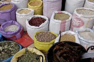 Spices in the Souks in the Medina, Marrakesh, Morocco, North Africa, Africa by Jean-Pierre De Mann