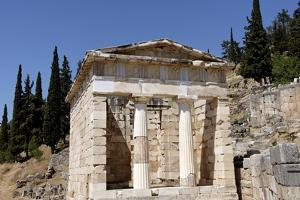 The Treasury of the Athenians. Delphi , UNESCO World Heritage Site, Peloponnese, Greece, Europe by Jean-Pierre De Mann