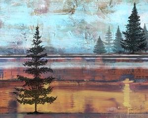 Abstract Misty Landscape With Trees by Jean Plout