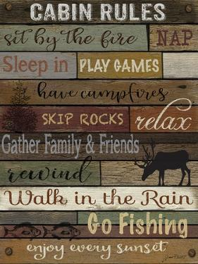 Cabin Rules On Wood, by Jean Plout