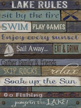 Lake Rules On Wood by Jean Plout