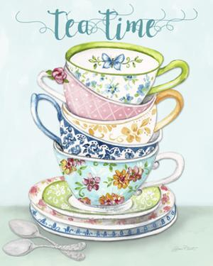 Watercolor Teacups-A by Jean Plout
