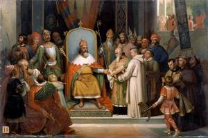 Charlemagne Receives Alcuin, 780 by Jean-Victor Schnetz