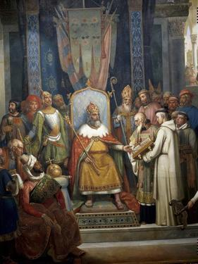 Charlemagne Receives Alcuin of York by Jean-Victor Schnetz