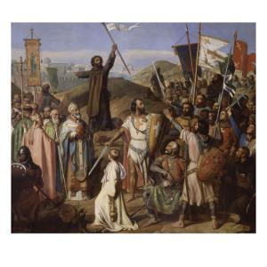 Procession des croisés conduits par Pierre l'Ermite et Godefroy de Bouillon autour de Jerusalem, by Jean Victor Schnetz