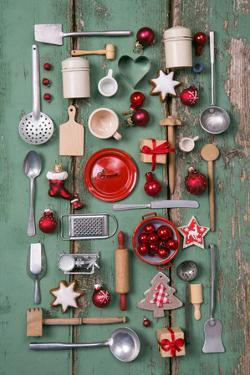 Country Style or Wooden Vintage Christmas Background for Kitchen and Menu Decoration. by Jeanette Dietl
