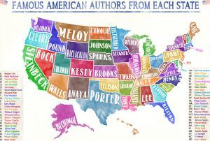 Most Famous American Authors by State - Extra Large Watercolor Style Poster by Jeanne Stevenson