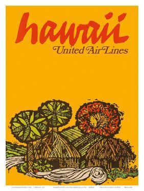 Hawaii - United Air Lines - Native Hawaiian Grass Huts by Jebray