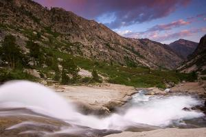 Pink and Blue Sunset over the Rushing Waters of the Kings River by Jed Weingarten