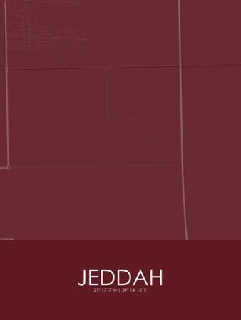 Jeddah, Saudi Arabia Red Map