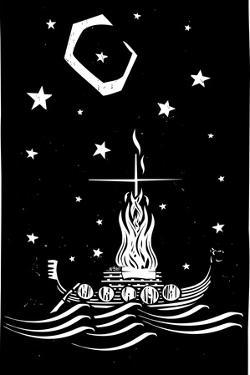 Woodcut Style Image of a Viking Chief Being Burned on a Longboat at Night. by Jef Thompson
