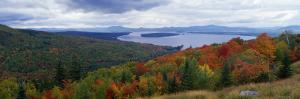 View of Colorful Fall Foliage and Approaching Storm Clouds from Scenic Overlook by Jeff Foott