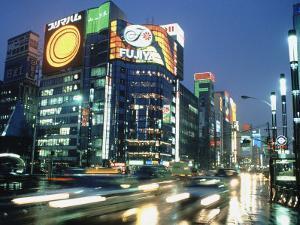 Ginza District at Night, Tokyo, Japan by Jeff Greenberg