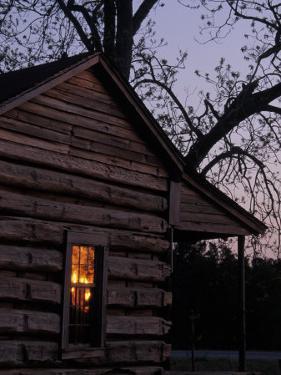 Log Cabin Window Reflecting Sunset, Red Hill, GA by Jeff Greenberg