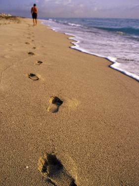 Male Beachcomber, Footprints in the Sand by Jeff Greenberg
