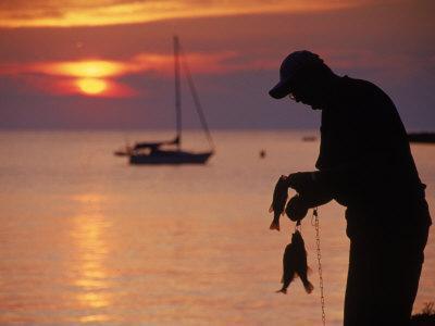 Silhouette of Man Fishing, Lake Erie, Lorain, OH