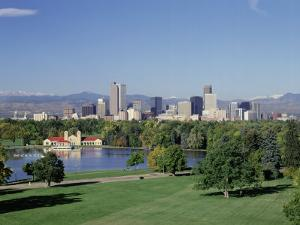 Skyline and Rocky Mts, Denver, Colorado by Jeff Greenberg