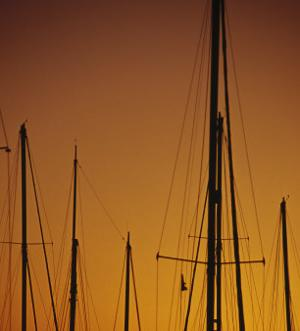 Sunset and Boat Masts, Ventura Harbor, CA by Jeff Greenberg