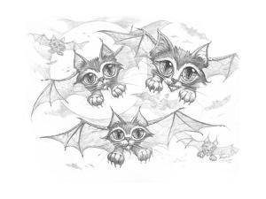 Bat Cats Pencil by Jeff Haynie