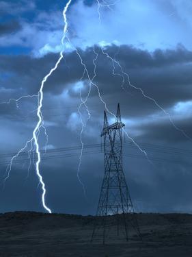Lightning Striking by Jeff Vanuga
