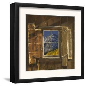Reflection of Mountain and Forest in Window of Old Cabin, Uncompahgre National Forest, Colorado by Jeff Vanuga