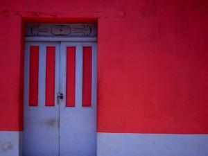 Brightly Painted House Facade in Suchitoto,Suchitoto,Cuscatlan, El Salvador by Jeffrey Becom