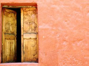 Carved Door and Painted Facade at Monastery of Santa Catalina, Arequipa, Peru by Jeffrey Becom