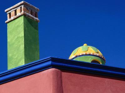 Colourfully Painted Chimney and Dome of a House in San Miguel De Allende, Guanajuato, Mexico
