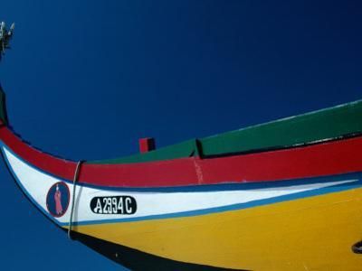 Decorated Prow of a Wooden Seaweed Fisherman's Boat in Murtosa, Azores, Portugal