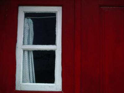 Detail of Red House with Curtained Window, Castelo De Vide, Alto Alentejo, Portugal