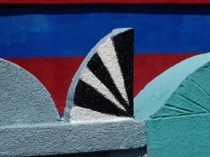 Detail of Stucco Ornament on a Painted Tomb in Sacapulae Cemetery, Quiche, Guatemala by Jeffrey Becom