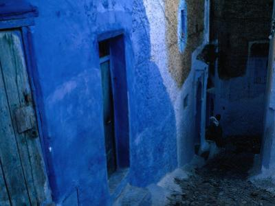 Looking Down on the Blue Alleyways of Chefchaouen, Morocco