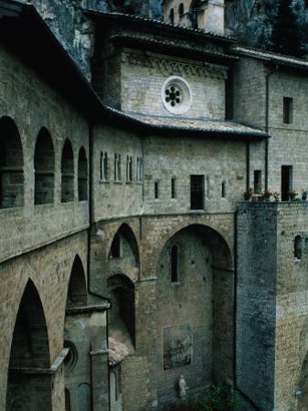 Mountainside Subiaco and St.Benedetto Monastery, Lazio, Italy