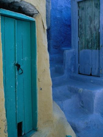 Painted Stepped Alley and Green Wooden Door,Pothia, Kalymnos, Greece by Jeffrey Becom
