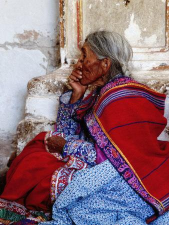 Profile of Woman in Traditional Embroidered Dress at Mass, Yanque, Peru
