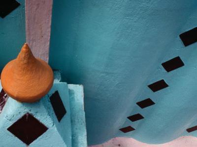 Tiled Architectural Detail on the Church Facade of San Luis Atexac, Puebla, Mexico