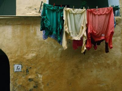 Washing Drying on the Island of Procida in the Bay of Naples, Procida, Campania, Italy