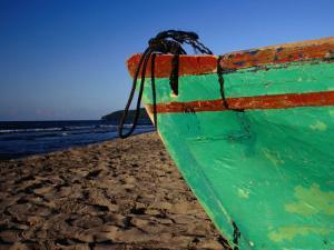 Weathered Wooden Boat Prow on Beach, Tela, Atlantida, Honduras by Jeffrey Becom