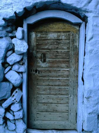 Wooden Door in Rubblestone Wall, Kalymnos, Greece