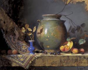 Olive Jar and Apricots by Jeffrey Legg