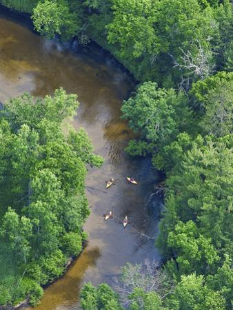Kayaks on the Pere Marquette River, Michigan, USA