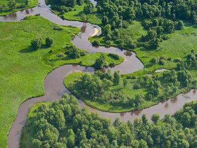 Pere Marquette River Meandering Near its Mouth, Michigan, USA