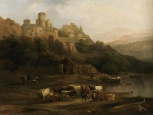 A Herd of Bulls by a River and a Castle Above, 1837 by Jenaro Perez Villaamil