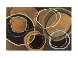14 Friday I - Brown Circle Abstract by Jeni Lee