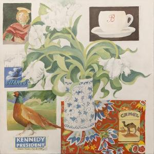 Ephemera, including coffee cup, cigarette packs; postcard and tulips by Jennifer Abbott