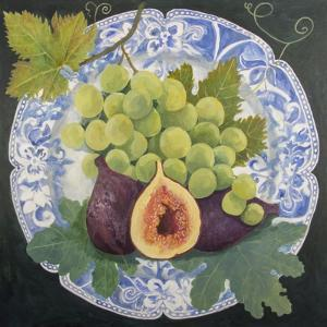 Figs and Grapes on a Plate by Jennifer Abbott